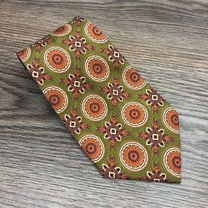 Burberry Green w/ Orange Medallion Pattern Tie
